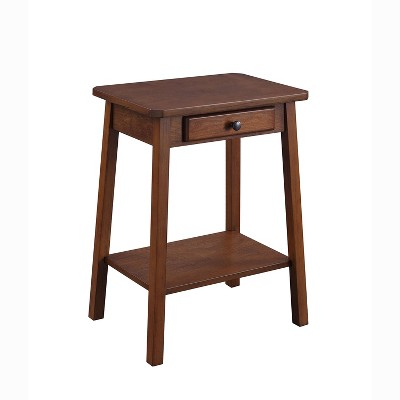 ACME Furniture 97858 Kaife Casual Wooden Accent Table with Storage Drawer and Lower Display Shelf for Living Rooms, Bedrooms, and Offices, Walnut