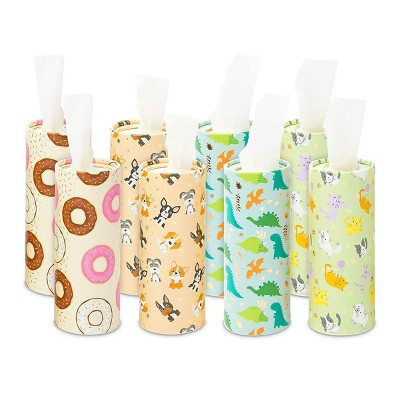 Zodaca 8 Pack Cylinder Tissue Holder Boxes with Facial Tissue for Car Cup or Travel, 400 Wipes, 4 Cute Designs
