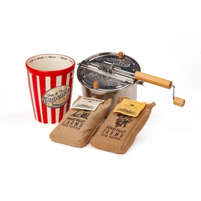 Whirley-Pop Original Stovetop Popcorn Popper with Ceramic Serving Bowl and Amish County Burlap Bag Popcorn