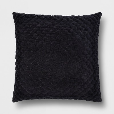 Hand Quilted Velvet With Zipper Closure Oversized Square Throw Pillow Navy - Threshold™