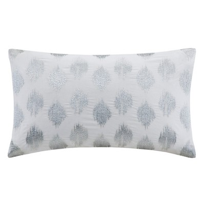 Nadia Dot Embroidered Throw Pillow Silver