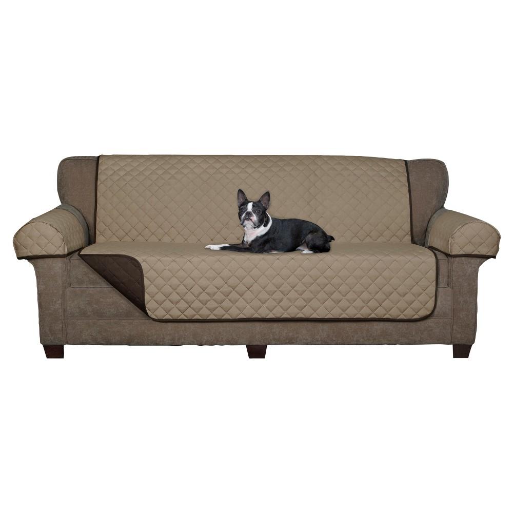 Image of Chocolate (Brown) Reversible Pet Loveseat Cover Microfiber Sofa Slipcover - Maytex