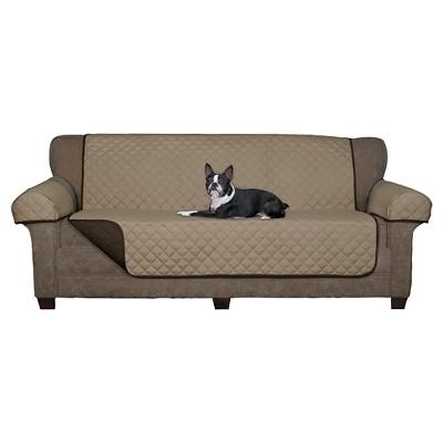 Chocolate Reversible Pet Loveseat Cover Microfiber Sofa Slipcover   Maytex