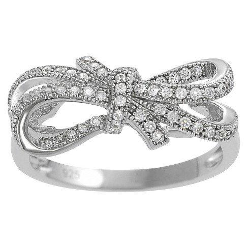 Cubic Zirconia Double Bow Ring in Sterling Silver - image 1 of 3