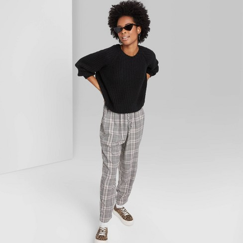 Women's Plaid High-Rise Elastic Waist Pants - Wild Fable™ Gray - image 1 of 3