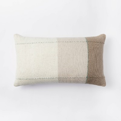 Oversized Woven Color Block Striped Lumbar Throw Pillow Neutral/Green - Threshold™ designed with Studio McGee