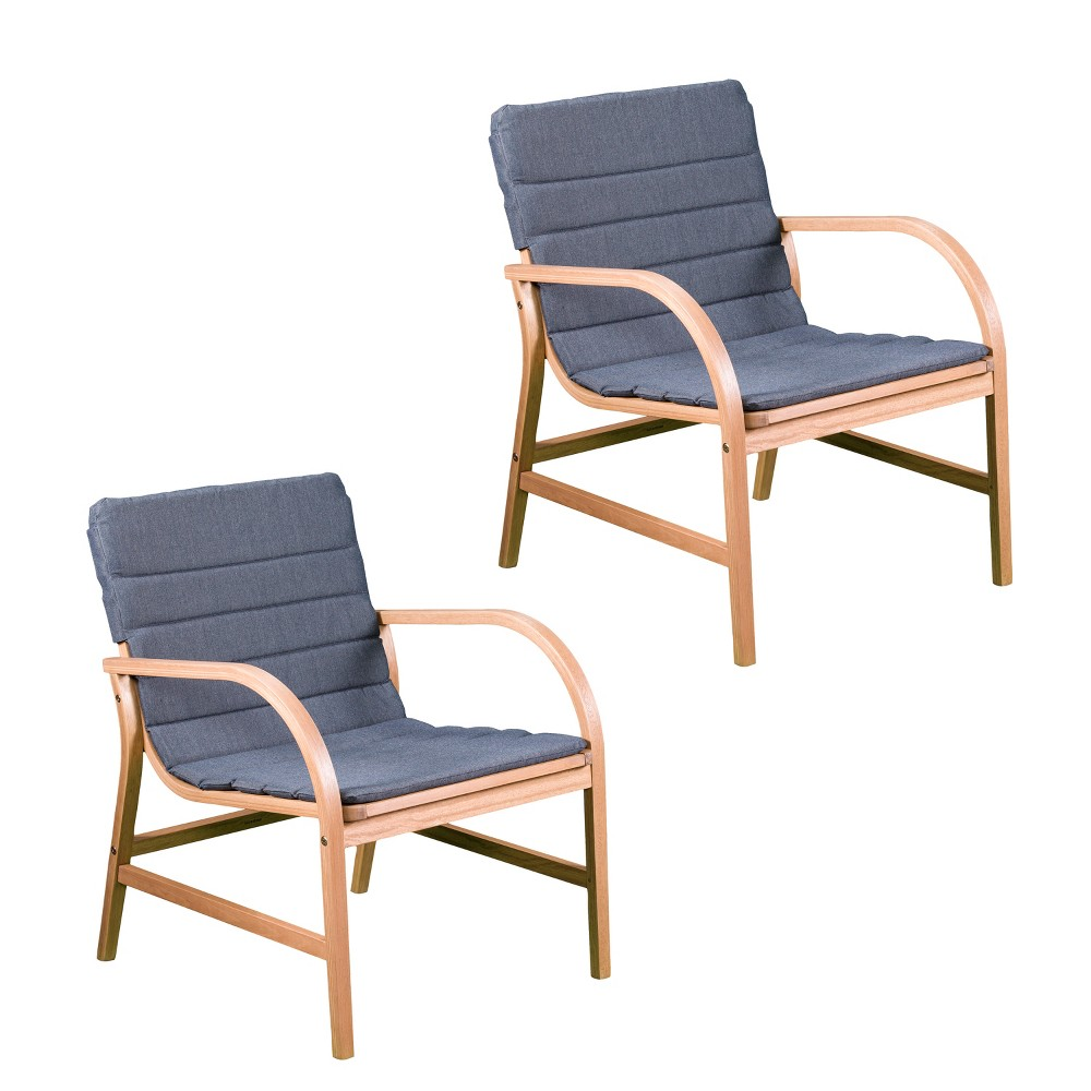 Image of 2pc Percival Cushioned Outdoor Accent Chairs Set Natural with Dark Gray - Aiden Lane