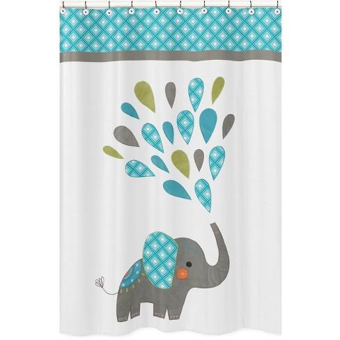 Mod Elephant Shower Curtain White Blue