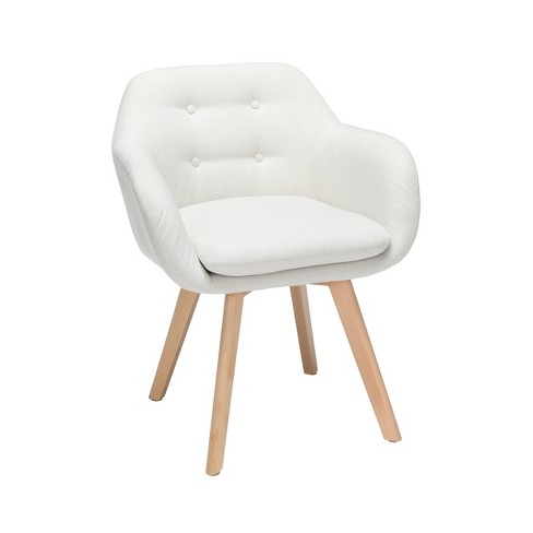 Set Of 2 Tufted Fabric Mid Century Modern Accent Chair With Arms Dining Solid Beechwood Legs Ofm