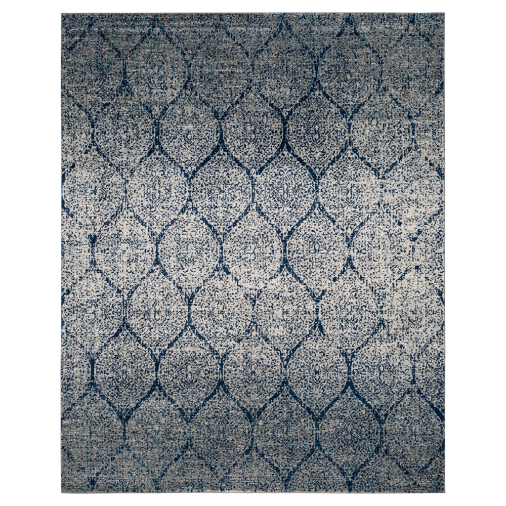 Navy/Silver Shapes Loomed Area Rug 8'X10' - Safavieh, Blue Silver