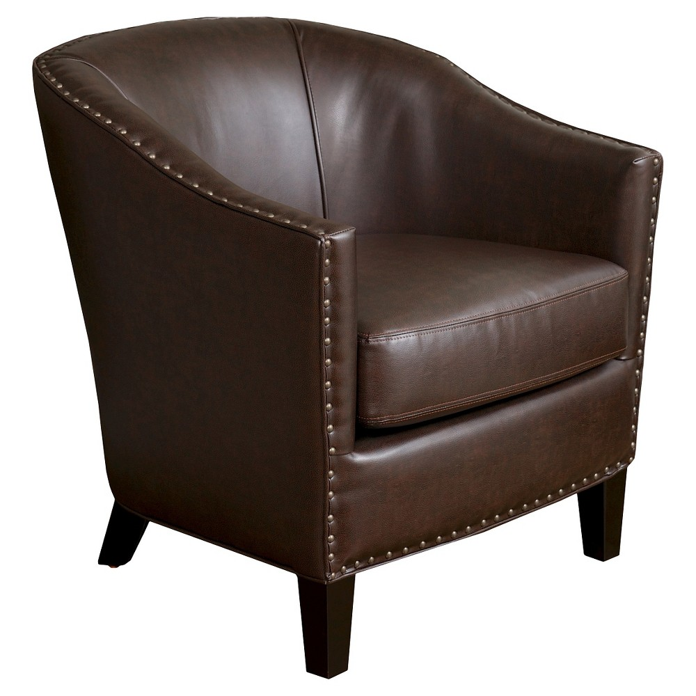 Austin Bonded Leather Club Chair - Brown - Christopher Knight Home