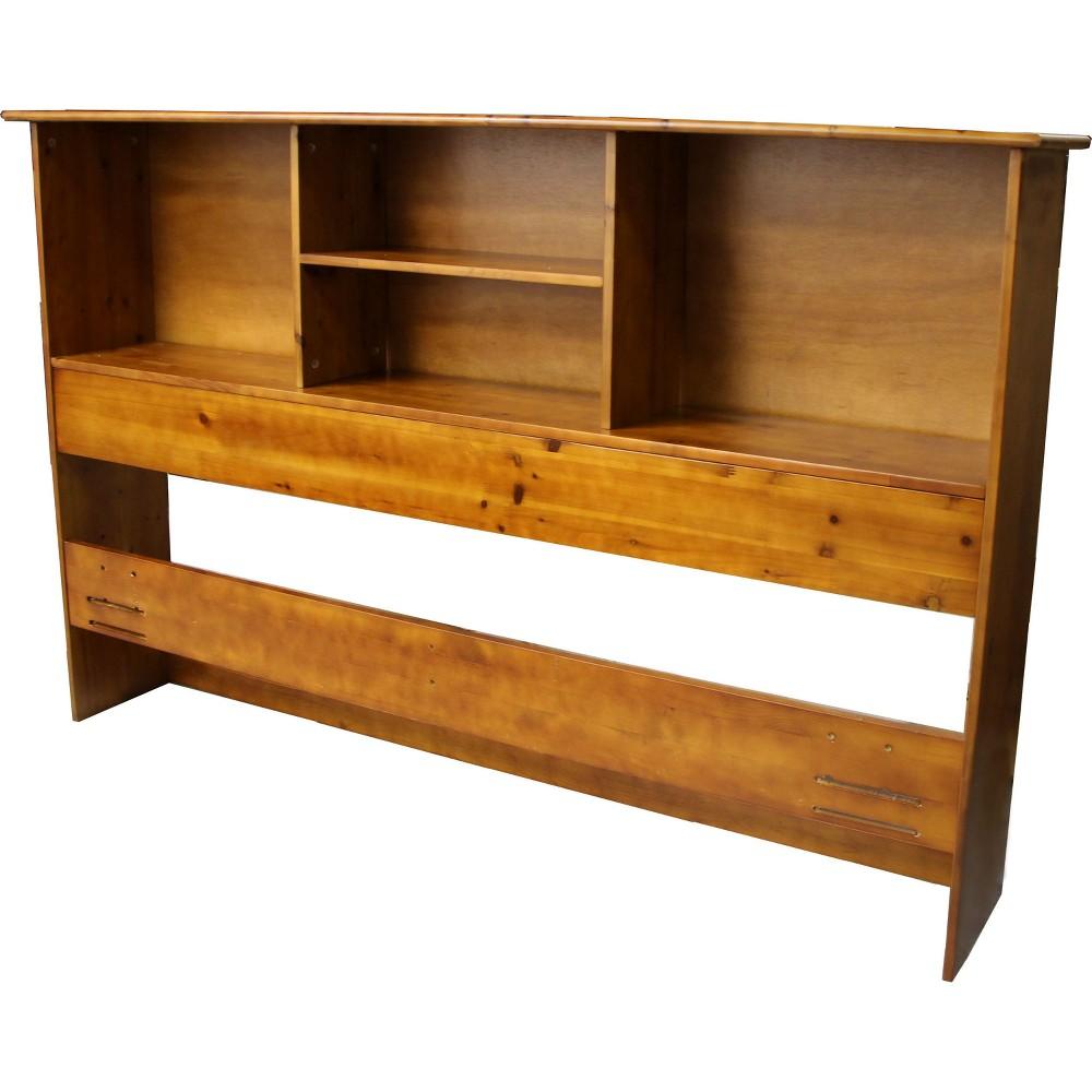 Gibraltar Solid Bamboo Wood Bookcase Style Headboard - Epic Furnishings, Medium Oak Finish