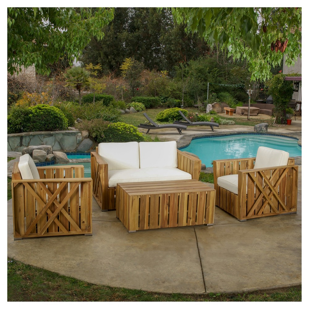 Cadence 4pc Acacia Wood Patio Chat Set with Cushions - Natural Stained - Christopher Knight Home
