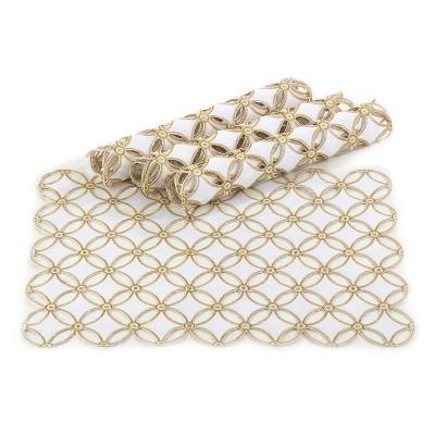 4pk Gold Buche de Noel Design Placemat 14 x20  - Saro Lifestyle®