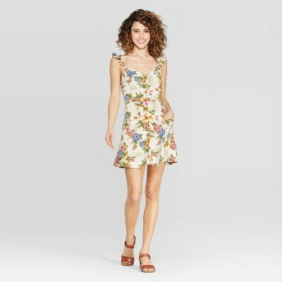 Women's Floral Print Cap Sleeve Strappy Button Down Dress With Pockets   Xhilaration Ivory by Down Dress With Pockets