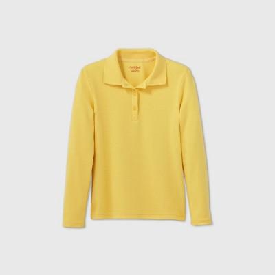 Girls' Long Sleeve Interlock Uniform Polo Shirt - Cat & Jack™ Yellow