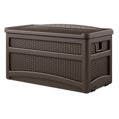 Suncast Outdoor 73 Gallon Garden Patio Storage Chest with Handles and Seat, Java - image 1 of 3