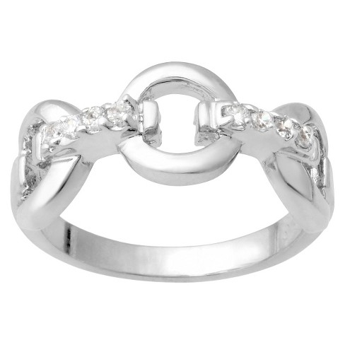 Tressa Collection Cubic Zirconia Chain Link Ring in Sterling Silver - image 1 of 3