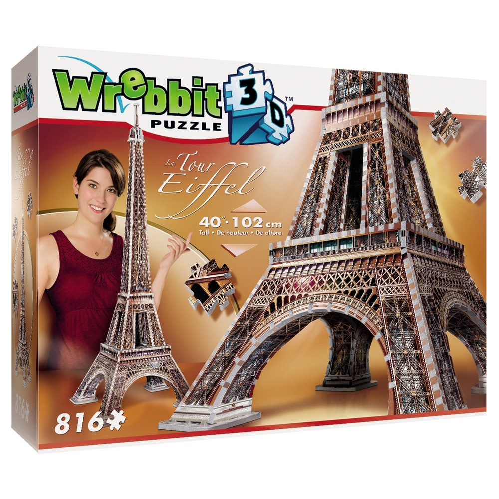 Wrebbit 2009 Eiffel Tower 3D Puzzle 816pc The most requested is finally here! Here is our newest model-the Eiffel Tower. Measuring 40 inches high, this 3D puzzle will charm you with its 816 pieces and its most detailed illustration. A sure Wow! The foam backed full color puzzle consists of 816 pieces Age - 12 and up. Approximate finished dimensions - 15.16 x 15.16 x 40.16 inches. Warning: Choking Hazard - Small parts. Not for children under 3 yrs. Gender: Unisex.