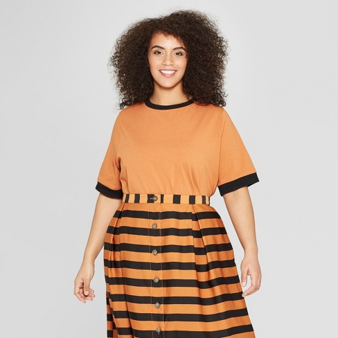 Women's Plus Size Short Sleeve Crew Neck Ringer T-Shirt - Who What Wear™ Brown/Black X - image 1 of 3