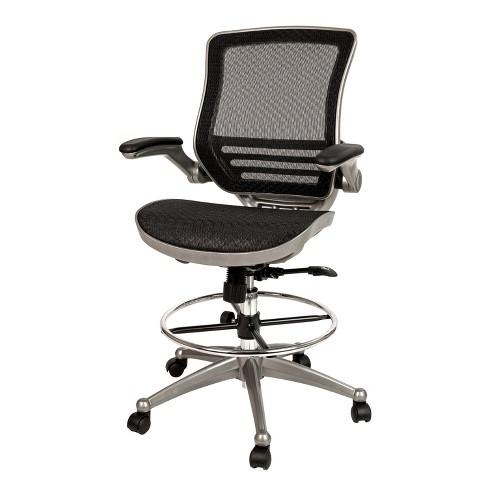 Transpa Black Mesh Drafting Chair, Is Flash Furniture Good Quality