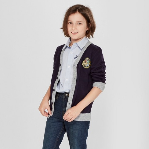 Boys' Harry Potter Cardigan Long Sleeve Button-Down Shirt - Navy - image 1 of 3