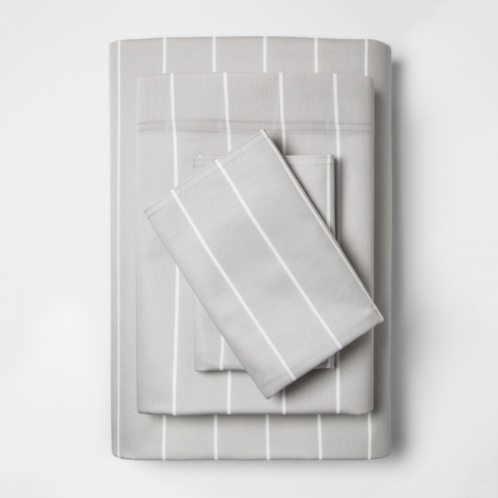 Twin 300 Thread Count Modern Striped Sheet Set Gray Stripe - Project 62 + Nate Berkus