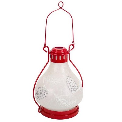 """Melrose 17"""" Red and Frosted White Battery Operated LED Christmas Lantern with Timer"""