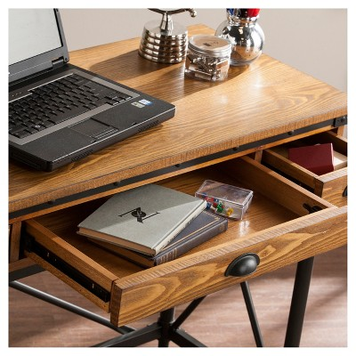 Luthier 2 Drawer Industrial Writing Desk With Keyboard Tray Oak   Aiden Lane