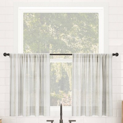 Set of 2 Vintage Striped Anti-Dust Sheer Cafe Curtain Tiers - Clean Window