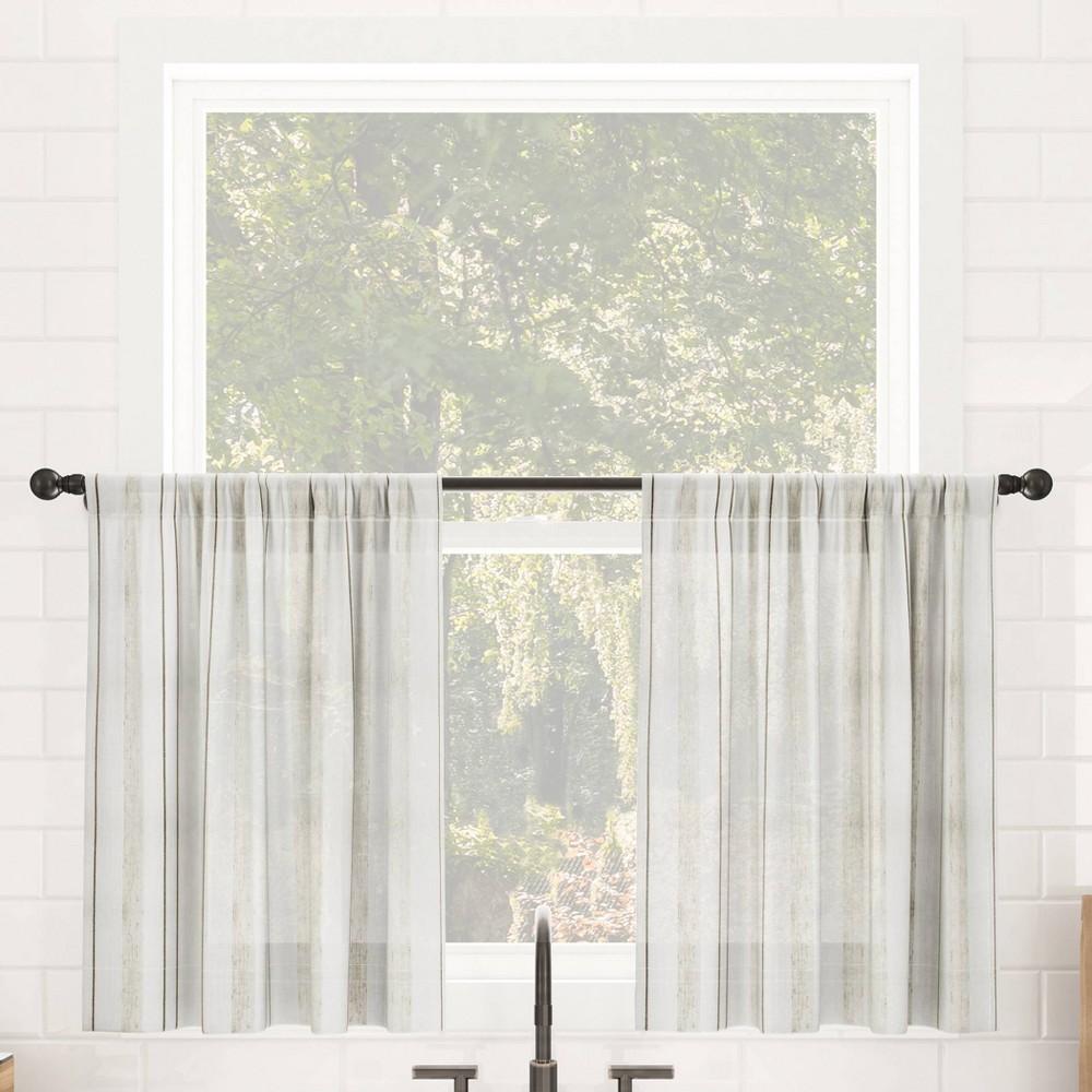 Set Of 2 36 34 X50 34 Vintage Striped Anti Dust Sheer Cafe Curtain Tiers Beige Clean Window