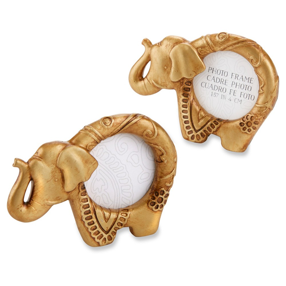 Image of 12ct Lucky Golden Elephant Frame Favors - Gold