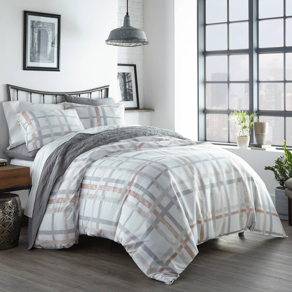 Image of City Scene King Atlas Plaid Comforter Set Gray