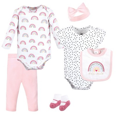 Hudson Baby Infant Girl Cotton Layette Set, Modern Rainbow