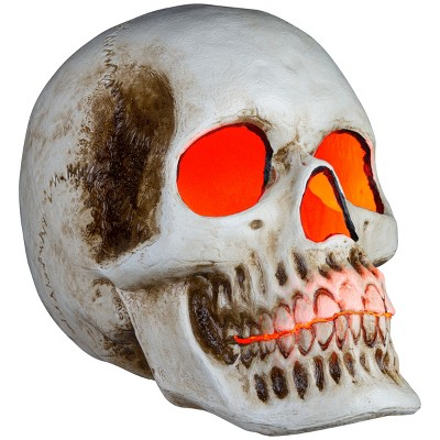 """Gemmy 20"""" Blow Mold Lighted Decor Candle Flicker Natural Bone Skull, Brown"""