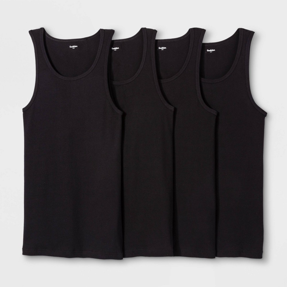Image of Men's 4pk Ribbed Tank Top - Goodfellow & Co Black 2XL