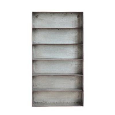 35.5  x 19.5  Decorative Distressed Metal 6-Tier Wall Shelf - 3R Studios