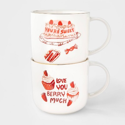 15oz 2pk Stoneware You're Sweet and Love You Berry Much Mugs - Opalhouse™