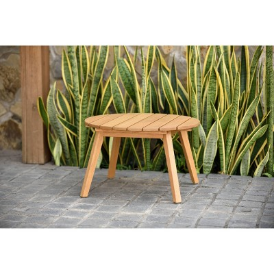 Ibiza Patio Round Side Table w/ Durable Eucalyptus in Teak Finish - Brown - Amazonia