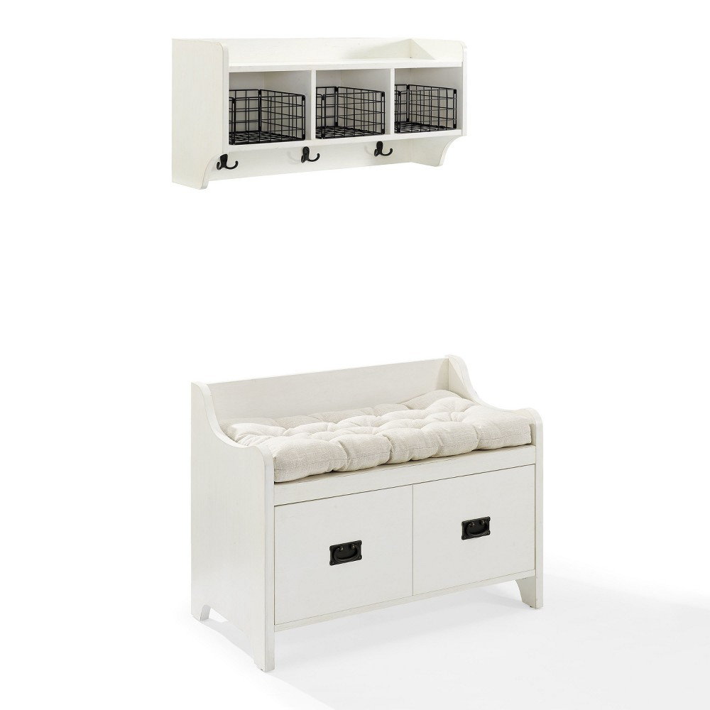 Image of 2pc Fremont Entryway Kit Bench and Shelf White - Crosley