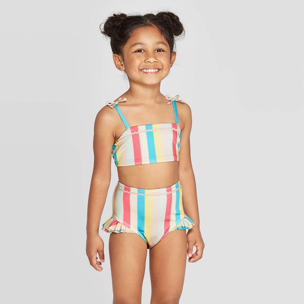 Image of Mila & Emma Toddler Girls' 2pc Rickrack Ruffle Bikini Set - Blue/Yellow/Pink 12M, Girl's, Blue/Pink/Yellow