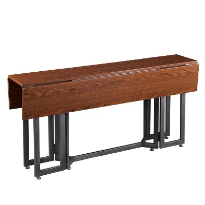 Driness Drop Leaf Console To Dining Table Dark Tobacco - Holly & Martin
