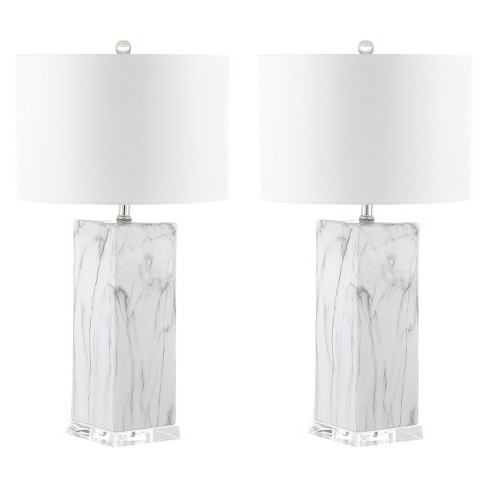 Olympia Marble Table Lamp Black White 15 X15 Set Of 2 Includes