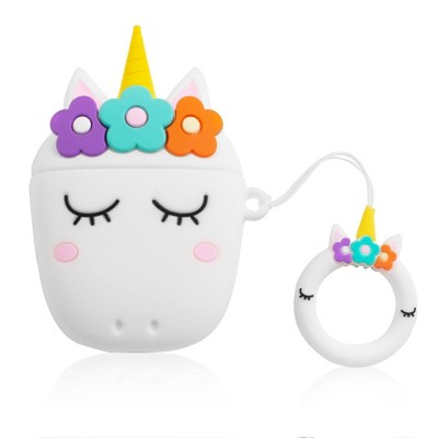 Insten Cute 3D Silicone Case For AirPods 2 & 1, Unicorn Cartoon Cover with Ring Strap