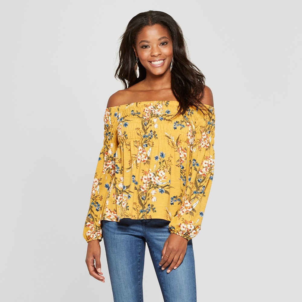 Women's Floral Print Long Sleeve Smocked Off the Shoulder Knit Top - Xhilaration Mustard (Yellow) L
