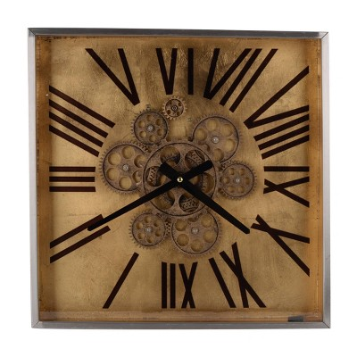 "16"" Altus Square Classic Face Wall Clock Gold - A&B Home"
