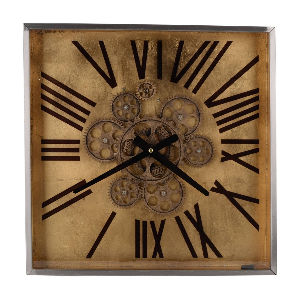 "Image of ""16"""" Altus Square Classic Face Wall Clock Gold - A&B Home"""