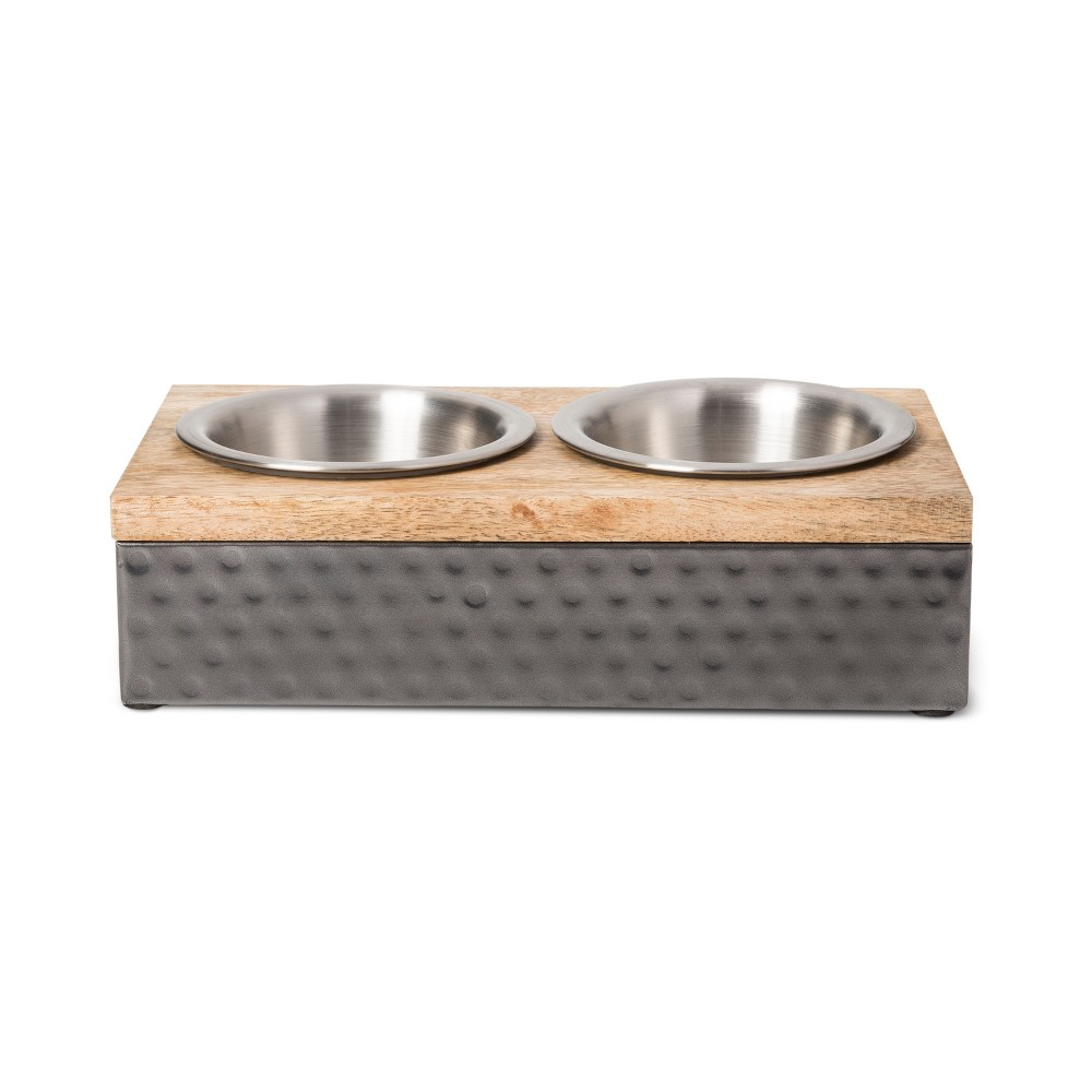 Wood/Metal Double Diner Cat and Dog Bowl - Small - Boots & Barkley, Black