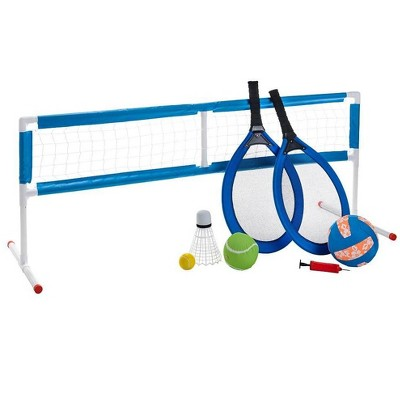 HearthSong 3-in-1 Outdoor Active Game Set with Oversized Tennis, Badminton, and Volleyball