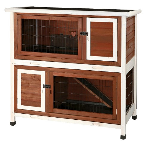 Trixie 2-Story Rabbit Hutch - Medium - Brown/White - image 1 of 6